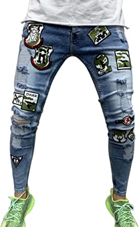 DELIMALI Men's Classic Ripped Jeans, Elastic Waist Stretch Skinny Distressed Denim Trousers Hip Hop Pants Streetwear
