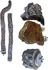 Heimtierbedarf 2 Vogel Sitzstangen aus Naturkork,1 Stk. Vogelsitzbrett aus Naturkork u.Korkpickstein