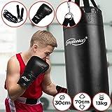 Junior Boxsack-Kit - Ø30cm, H70cm, Gewicht 13kg, Gefüllt, mit 8 oz Boxhandschuhen und Springseil, für Kinder, inkl. Karabinerhaken - Sandsack, Kickboxen, MMA, Kampfsport, Muay Thai, Punching Bag