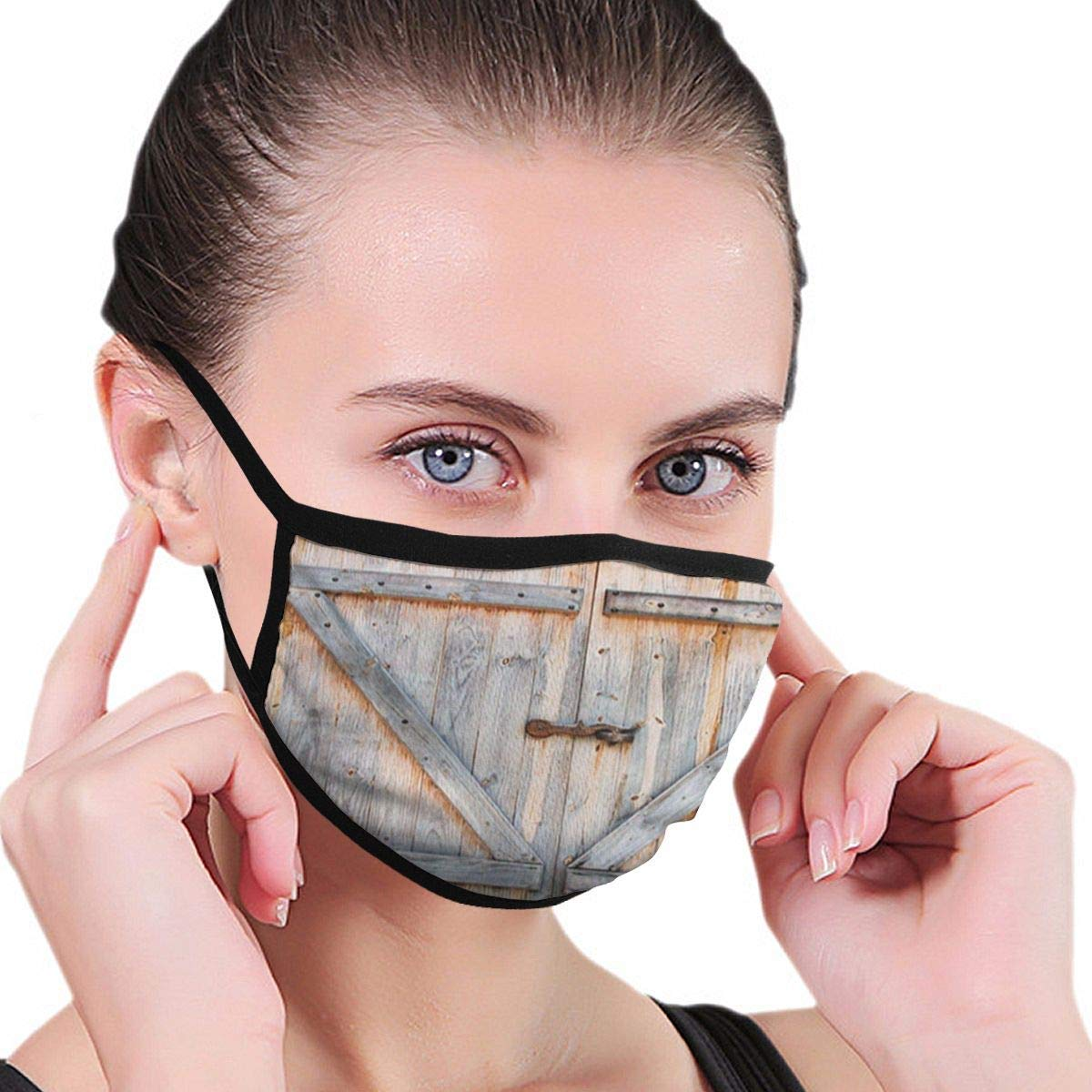 Bdwuhs Mascarillas Bucales Barn Wooden Door with Knocker Artistic Print Breathable Respirator Mask Grade Flu Mask Carbon Activated Filtration – Reusable Washable – Comfy Polyester Adjustable