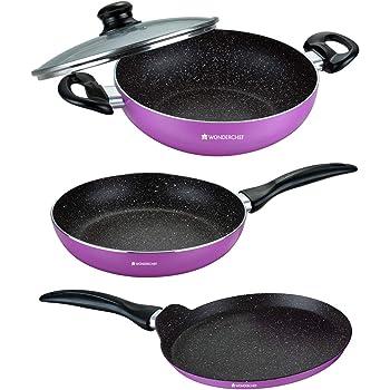 Wonderchef Athena Cookware Set, 3-Pieces, Pink