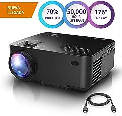 "DBPOWER Mini Beamer, 2200 Lumen HD 1080P LED Video Projektor mit 176"" Display, 50.000 Lebensdauer, Heimkino Projektor Kompatibel mit Amazon Fire TV Stick, HDMI/VGA/AV/USB/TF, Schwarz"