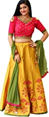 Mr Fashion Women's Silk Lehanga Choli (South India _Multi-Coloured_ Free Size)