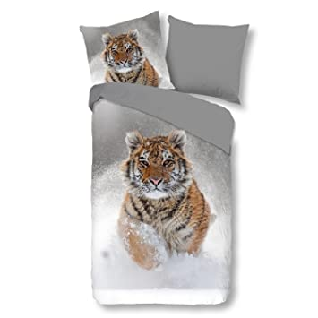 Good Morning Bettwäsche 2052 Snow Tiger Grau Tiermotiv Schnee