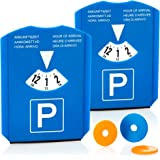 com-four® 2x parking disc with ice scraper, rubber lip and shopping cart chip - plastic parking meter (02 pieces - parking di