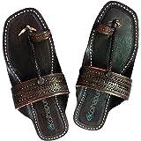 KALAPURI Mens Kolhapuri Chappal in Genuine Leather with Black Maujhe Shape Base and Traditional Broad Veni Upper. Handmade in