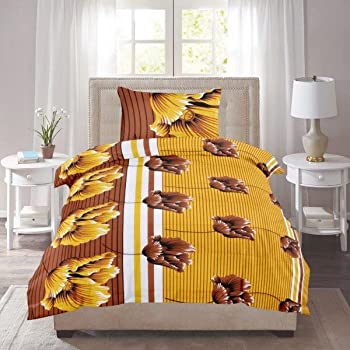 Exporthub Beautiful 100% Cotton Brown Leafs Flower Design Single Bed Bedsheet With 1 Pillows Covers, (EHBS072)