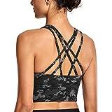 CRZ YOGA Damen Sport Yoga Longline BH- Abnehmbare Polsterung,Ohne Bügel, Kreuzentwurf