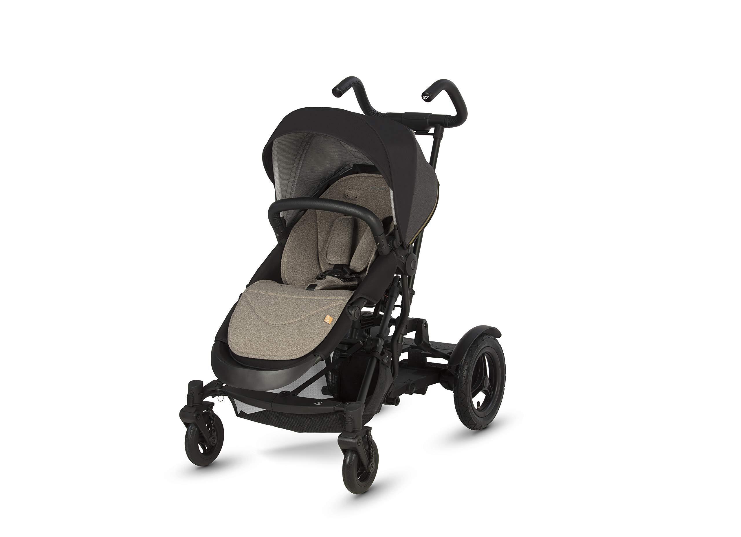 Micralite TwoFold Pushchair - Carbon. Suitable from 6 Months to 4 Years. Add Carrycot to Convert to Travel System Micralite QUICK FOLD - The TwoFold folds into one piece, with one movement. Once folded it free stands for ease of storage at home or out and about. To transport when not in use simply drag it along behind you. ALL-TERRAIN WHEELS - Large air filled back tyres, high mud guards and great ground clearance mean you can still go anywhere even with two in tow. You don't have to worry about getting a puncture either as the pneumatic tyres are lined with Kevlar - the same fibre used in bullet proof vests! WEATHERPROOF FABRICS - Dressed with signature Micralite high quality weatherproof fabrics, the hood of the TwoFold turns water just aswell as it deflects the sun's harmful rays. We also include a storm cover for more extreme weather - so nothing can stop you and your little one from getting out there. 2