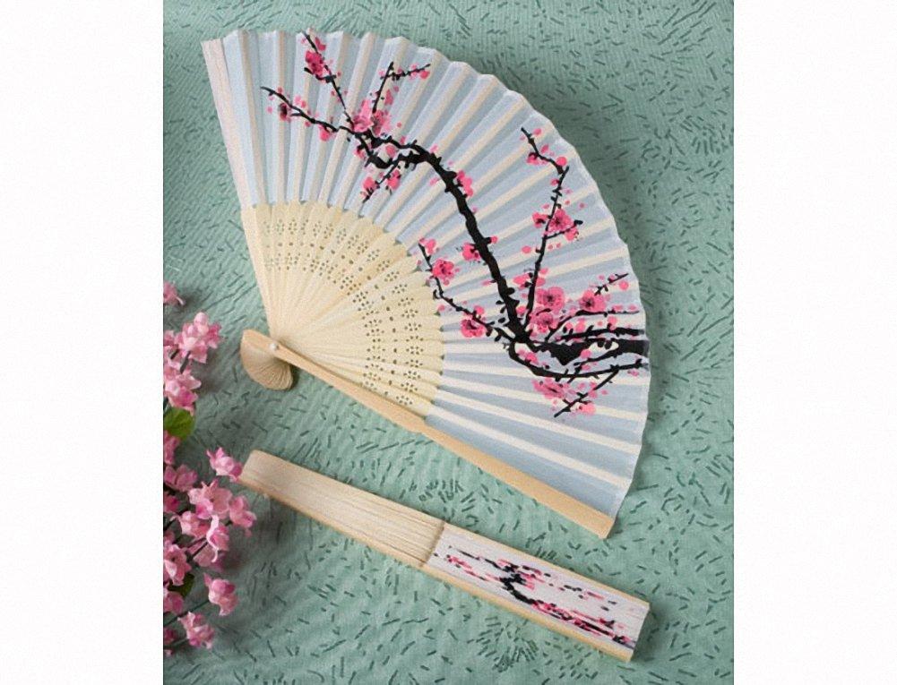 Ventaglio in stoffa e legno, fantasia giapponese (1pz)