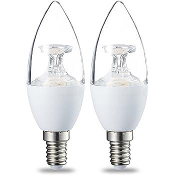 AmazonBasics Bombilla LED E14, 6W (equivalente a 40W), Blanco Cálido, Regulable- 2 unidades