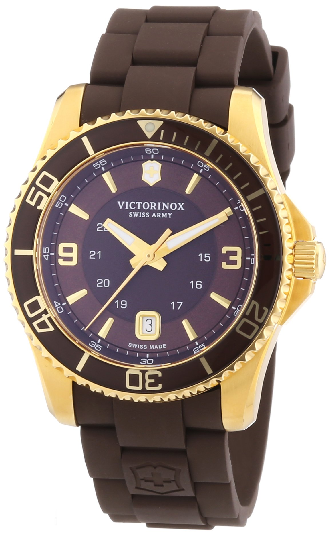 Victorinox Swiss Army Maverick 241608 – Reloj analógico de cuarzo para hombre, correa de goma color marrón (agujas luminiscentes)