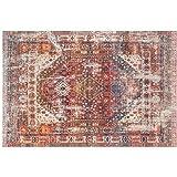 Traditional Vintage Oriental Area Rug, Red, Floor Carpet for Living Room Bedroom Easy Clean (120 x 160cm)