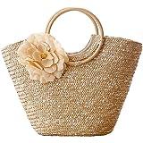 SODIAL Bolso de mano para mujer con tejido de paja, tejido de flores, verano, playa, mensajero, bolsa de mano, cesta, comprad