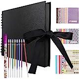 Hianjoo Album Photo Scrapbook, 40 Feuilles Livre de mémoire des Pages Noir 29 * 20cm Fait à la Main Album Bricolage (8 stylos