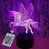 Veilleuse 3D Télécommande et commande tactile Veilleuse licorne 16 couleurs, adaptée à la chambre des enfants et aux cadeaux