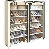 UDEAR Armoire/Meuble à Chaussures avec Housse en Toile 7 Couches étagère Chaussures avec Zip Beige