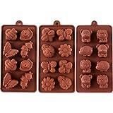 STARUBY 3PZ Stampo Silicone Cioccolato Caramelle Biscotti Stampi da Forno Anti-Aderente per Sapone Dolci, Tema Foresta a Forma Orso, Leone, Ape, Farfalla, Scarafaggio, Lumaca, Bruco