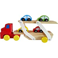 Wooden Toy Car Transporter with Detachable Trailer and 4 Different Colored Cars