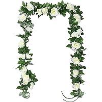 TSHAOUN 2 Pezzi Ghirlanda di Fiori Rosa Artificiali con Foglie Verdi, Seta Fiori Finta Piante Sospese per Arco Matrimoni…