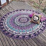 Minuya Mandala Elefant Runde Quaste Pilates Strandtuch Rot Blau Grün Violett Yogamatten Tapestry Tischdecke Picknickdecke Schal Haus Meer Sea Urlaub