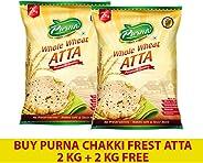 Purna Chakki Fresh Atta 2 kg + 2 kg(Pack of 2)
