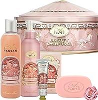 Un Air d'Antan® Caja Regalo Belleza Rose Mujer, 1 Jabon 100g, 1 Gel Ducha 250ml,1 Crema Corporal 200ml,1 Crema de Manos...