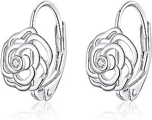 Qings Orecchini a cerchio con fiore rosa scintillante 925 sterline d'argento amo i piccoli zirconi intarsiati come regalo per donne e ragazze