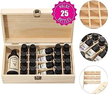Ätherische Öl Box aus Holz 24 kleine Fächer + 1 großes
