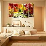999Store Multiple Frames Wall Art Panels Wooden Frame Printed Forest River Like Modern Wall Art Painting - 5 Frames (148 X 76