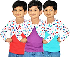 Gkidz Girls Combo Of 3 Graphic Cotton Vest And Shrug Pack of 3 (GIRLS-3PCK-VEST-CMB-2_ Multicolor)