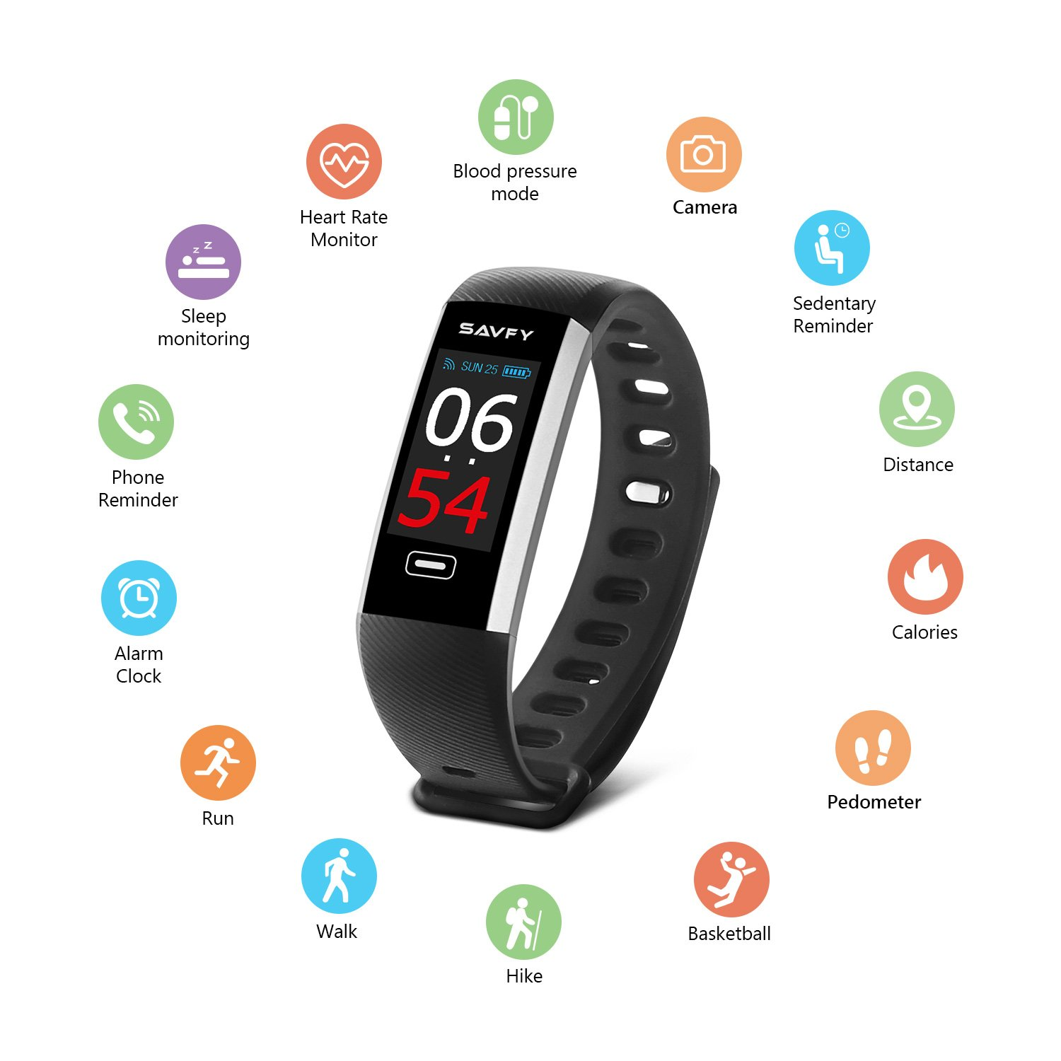 SAVFY Fitness Tracker IP67 Waterproof Activity Tracker Smart Watch Color Screen Wristband With Heart Rate Monitor Pedometer Sports Modes For IOS And Android Black