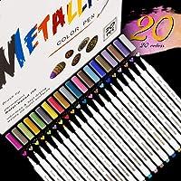 Emooqi Marqueur Métallique Pens, 20 Couleurs Marqueurs Peinture pour Peinture Céramique, Bois, Porcelaine, Plastique…