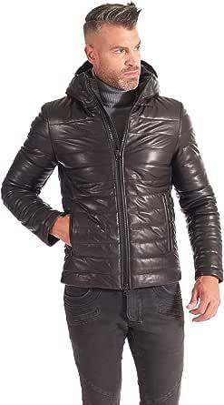 D'Arienzo Piumino in Pelle Nero Uomo con Cappuccio Giaccone Invernale Cappotto Vera Pelle Made in Italy TEO