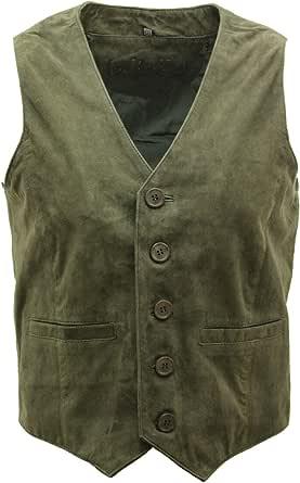 Infinity Men's Goat Suede Classic Smart Tan Leather Waistcoat