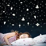 Wandkings Geister und Sterne, 198 Sticker, extra starke Leuchtkraft, Wandsticker Leuchtaufkleber, Fluoreszierend und im Dunkeln leuchtend