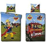"""Parure de lit avec """"pompier sam"""" - 135 x 200 cm + 80 x 80 cm 447026050 100 % coton"""