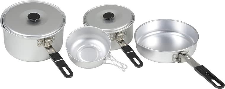 Set 2 Personen leichtes Topfset Kochset ALU Poliert Campinggeschirr Kochtopf