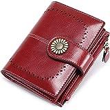 Portafoglio Donna Grande, Portamonete con Cerniera, Portafoglio con Protezione RFID, Porta Carte di Credito Tasche Pelle (ros