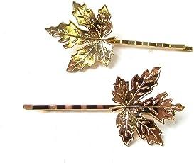 El Regalo Leaf Gold Hair Clips for Women - Set of 2