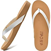 ONCAI Tongs Femme Cuir Confort Arch Support Plage Sandales Poids Léger Antidérapantes Piscine Chaussures Coussined…