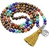 Jovivi Gioielli Pietre Naturale Collana Braccialetto Retro Tibetano Buddismo India Agata Mala Guarigione Energia Terapia Preg