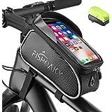 FISHOAKY Borsa Telaio Bici, Impermeabile Borsa da Manubrio per Biciclette, Touch Scree Porta Telefono MTB Borsa Porta Cellula