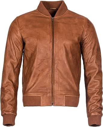 Mens Retro Tan Varsity 100% Nappa Leather Retro Bomber Jacket