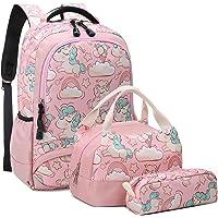 Einhorn Rucksack Mädchen Schulrucksack Kinder Daypack Kinderrucksack für Schule und Freizeit 3 Teiliges Set Schulranzen…