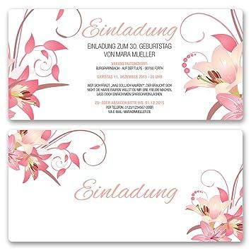 Einladungskarten Geburtstag (30 Stück) Blumen Geburtstagseinladungen Karte  Einladungen Gestalten | Inkl. Druck Ihrer