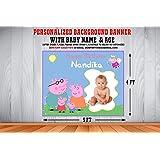 WoW Party Studio Fondo de Fiesta temático de Peppa Pig Personalizado / Banner de Fondo con Nombre, Edad e Imagen de niño / ni