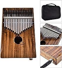 Lifesongs 17 tasti EQ kalimba Solid Acacia Thumb Piano Link Speaker Pickup elettrico con cavo a sacco