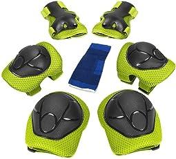 Kinder Schutzausrüstung Set, Knieschoner Ellenbogenschoner Handgelenkschutz Schutzset zum Kinder Rollschuhlaufen Inline Skates Skateboarding Radfahren, 6PCS
