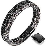 murtoo Bracelet Homme Bracelet en Cuir Acier Inoxydable Bracelet en Acier Inoxydable magnétique Emballage Cadeau Parfait